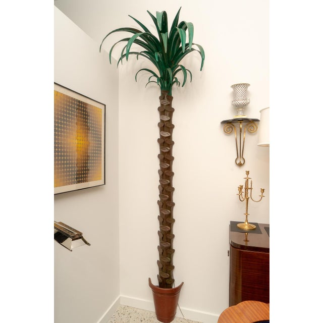 Green 1970s Custom Palm Tree Form Wall Torcheres 9 Ft High - a Pair For Sale - Image 8 of 12
