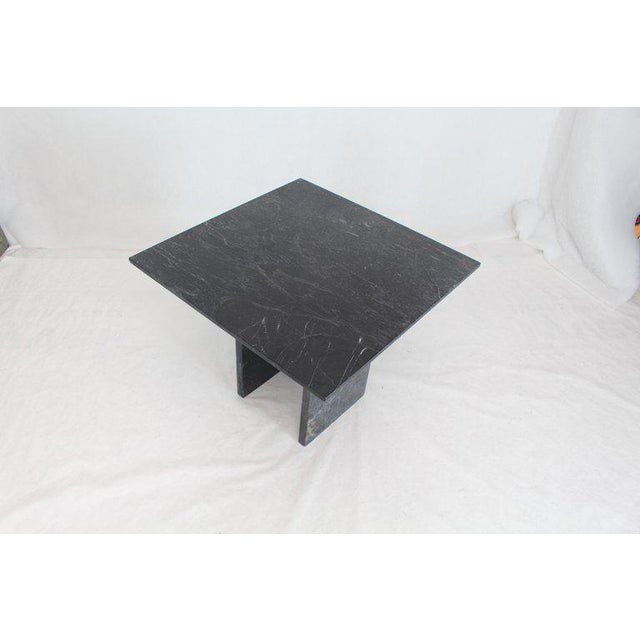 Black Square Marble Top Small Conference Dining Game Cafe Table For Sale - Image 9 of 10