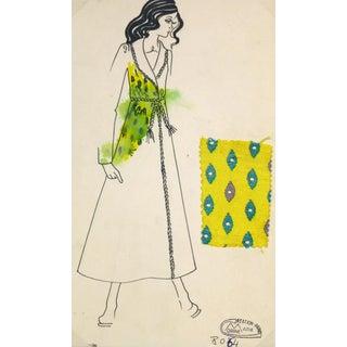 Vintage Paris Fashion Drawing - Yellow Coat, C. 1980 For Sale