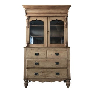 Antique Pine China Cabinet For Sale