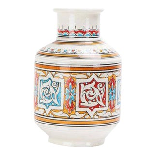 Vintage Moroccan Orange Blue and White Ceramic Vase For Sale