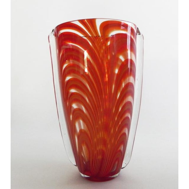 2010s Hand Blown Clear Glass Vase Infused With Red-Orange Ribbon Pattern For Sale - Image 5 of 10