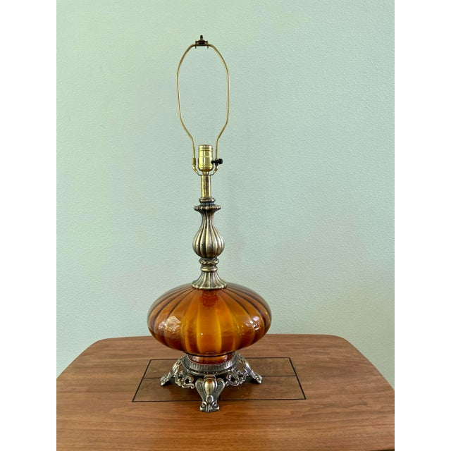 1970s Ef & Ef Industries Amber Glass Table Lamp For Sale - Image 5 of 5