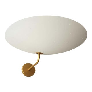 Pierre Disderot Model #2059 Large Perforated Wall Lamp in White & Brushed Brass For Sale