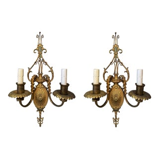 Early 20th Century Adam Style Two-Arm Wall Sconces For Sale