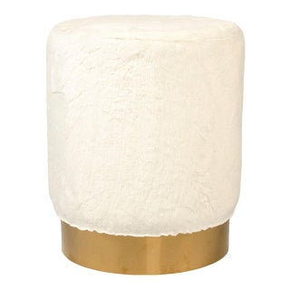 Carnegie White Faux Fur Stool in White For Sale