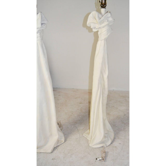Draped Plaster Floor Lamps in the Manner of John Dickinson - A Pair For Sale In Palm Springs - Image 6 of 7