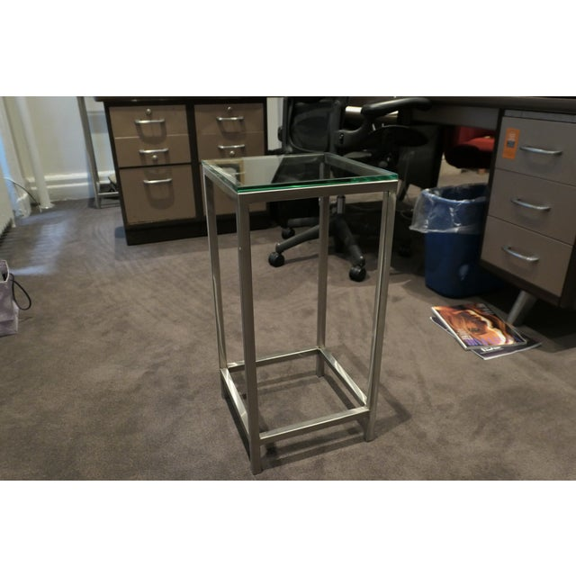 Early 21st Century Modern Chrome and Glass Top Side Table For Sale - Image 5 of 5