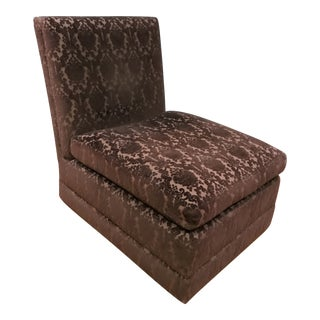 Brown Brocade Velvet Flocked Upholstered Slipper Chair For Sale