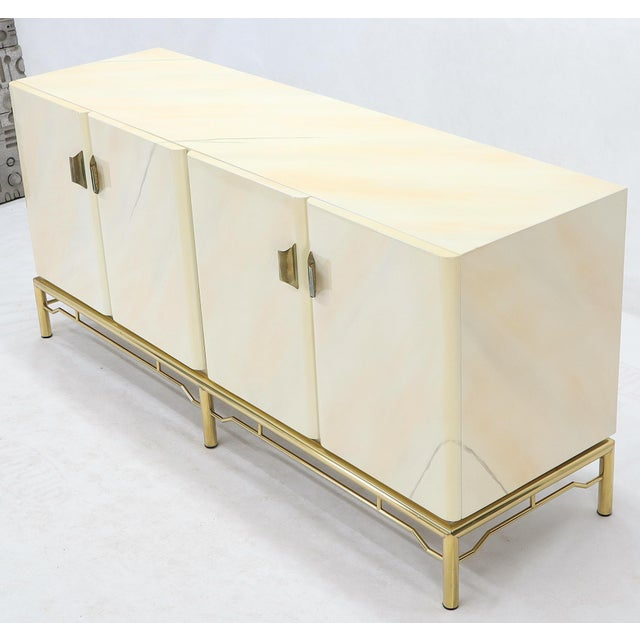 Mid-Century Modern faux lacquer finish stunning bamboo like brass stretcher base long credenza console dresser cabinet....