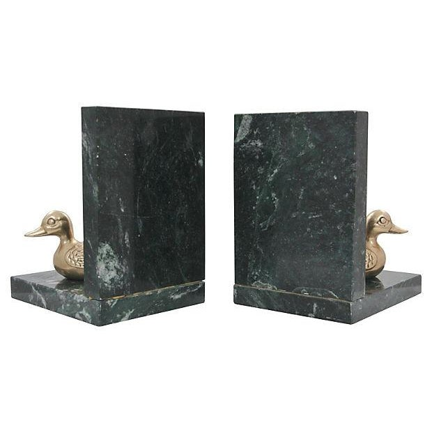 Marble & Brass Duck Bookends - A Pair - Image 4 of 6