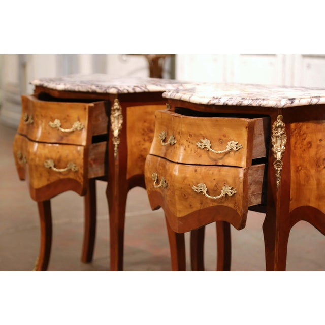 Brown Vintage Louis XV Burl Walnut Bombe Nightstands Chests With Marble Top - a Pair For Sale - Image 8 of 11