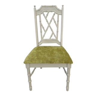 Hollywood Regency Faux Bamboo Painted Chair by Trogdon For Sale