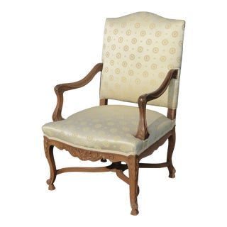 Vintage French Provincial Ornate Carved Wood Emblems Silk Blend Throne Chair For Sale