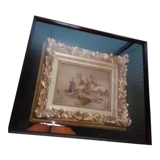 Antique Shadowbox Oil Painting With Real Gold Frame - For Sale