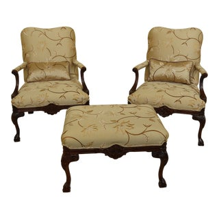 Pair Sherrill Embroidered Silk Clawfoot Armchairs & Ottoman For Sale