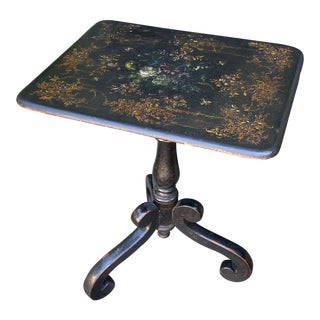 Antique Victorian Paper Mache Tilt Top Tea Table For Sale