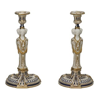 Minton Neoclassical Figural Candlesticks with Parian Faces For Sale