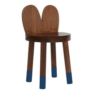 Lola Kids Chair in Walnut With Deep Blue Finish For Sale
