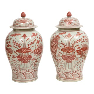 Pink and White Chinese Jars - A Pair For Sale