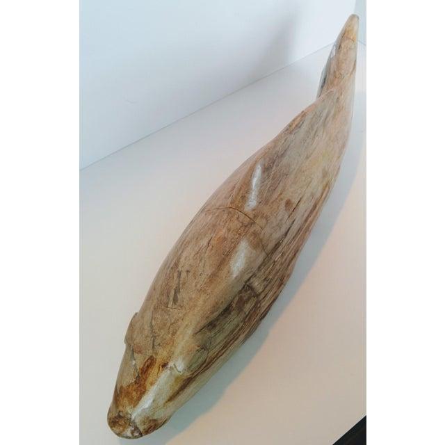 Stone Jumbo Petrified Wood Koi Fish Sculpture For Sale - Image 7 of 10