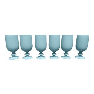 Portieux Vallerysthal Blue Opaline Footed Water Goblets - Set of 6 For Sale
