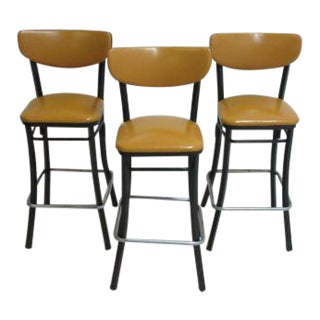 Mid-Century Industrial Metal Bar Stools - Set of 4