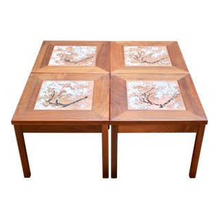 Vintage John Keal for Brown-Saltman Walnut and Enameled Copper Side Tables - Set of 4 For Sale
