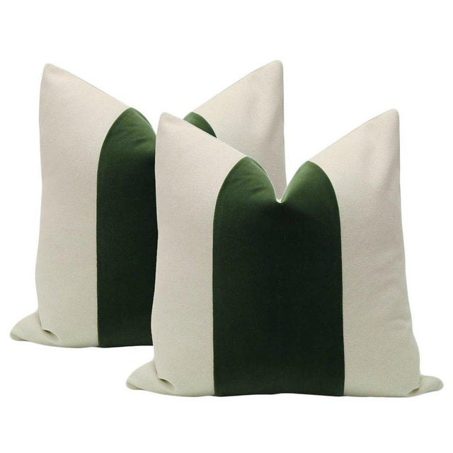 """2010s 22"""" Fern Velvet Panel & Linen Pillows - a Pair For Sale - Image 5 of 5"""