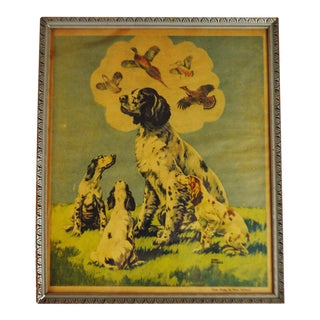 Vintage 1936 New York Tribune Framed Cover Design Art by Harry Michaels - Hunting Dogs