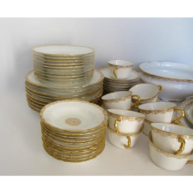 Gold Vintage BMdeM, L. Strauss & Sons for Limoges Gilt Medallion Dinnerware - 60 Pieces For Sale - Image 8 of 13