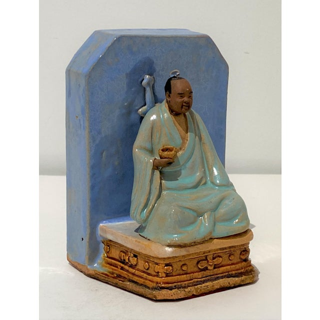 Antique Early 20c Figurine Buddha With Alms Bowl in Glazed Pottery For Sale - Image 10 of 11
