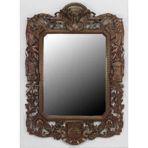 Brown 19th c. Wall Mirror Carved with American Iconography For Sale - Image 8 of 8