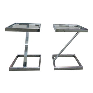 1960s Mid Century Modern Milo Baughman for Directional Chrome Side Tables - a Pair For Sale