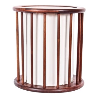 C. 1960 Arthur Umanoff Round Spindle Walnut Waste Basket For Sale