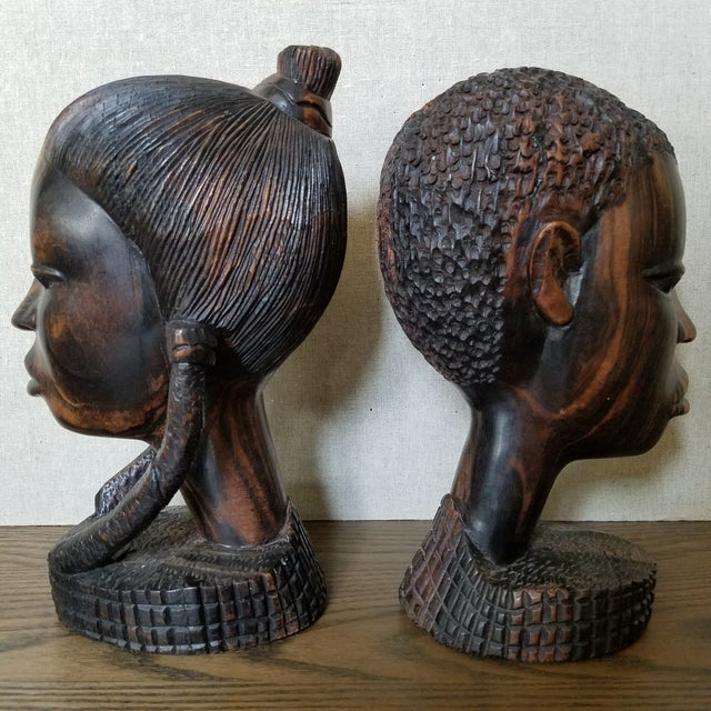 African Zebra Wood Male & Female Busts, a Pair For Sale - Image 4 of 9