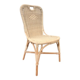 Vintage Whitewashed Natural Woven Wicker Bamboo Rattan Desk Chair For Sale