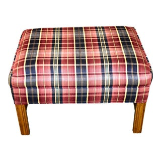 Chippendale Style Ottoman With Stretcher Base and Traditional Plaid Fabric For Sale