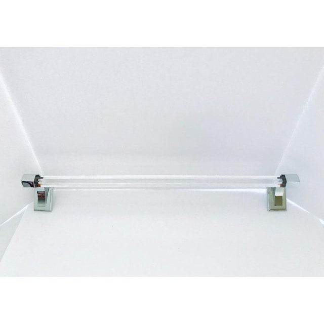 Glass Vintage Faceted Glass and Nickel Towel Holder For Sale - Image 7 of 13