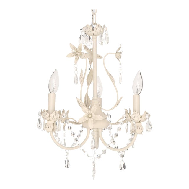 Crystal & Floral White Chandelier - Image 1 of 4