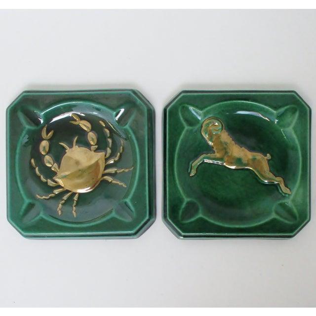 Green Vintage Ceramic Ashtrays, Set of 2 For Sale - Image 8 of 8