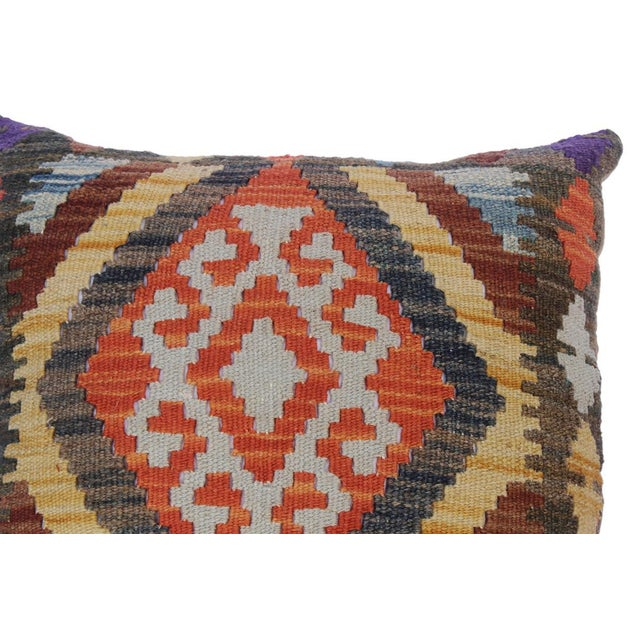 "Chung Green/Rust Hand-Woven Kilim Throw Pillow(18""x18"") For Sale - Image 4 of 6"