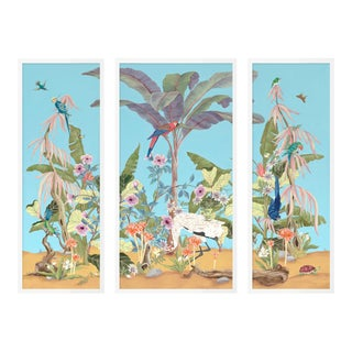 Palm Beach Paradise by Allison Cosmos, Set of 3, in White Framed Paper, Medium Art Print For Sale