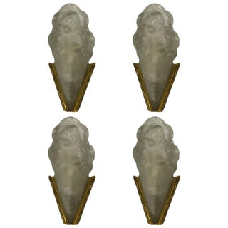 Degue Signed French Art Deco Sconces - Set of 4 For Sale