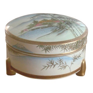 Footed Ceramic Painted Box For Sale