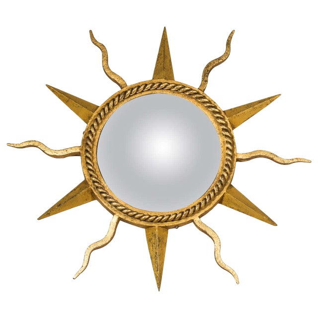 Gilbert Poillerat Convex Starburst Wall Mirror For Sale