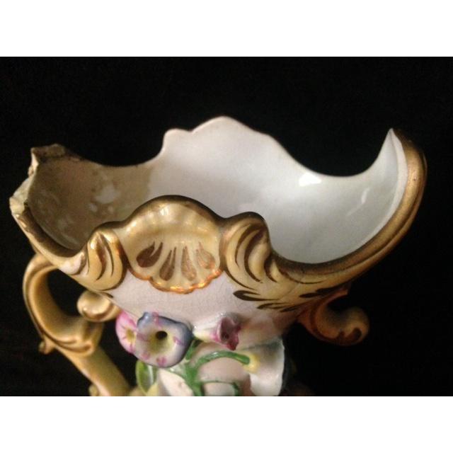 Antique Pastel Floral Porcelain Vase For Sale - Image 10 of 11