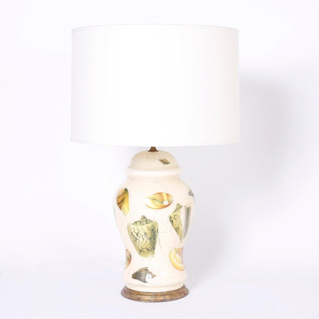 Decoupage Sea Shell Table Lamps - A Pair For Sale - Image 4 of 9