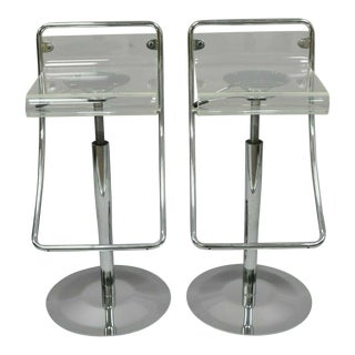 Lucite Acrylic Chrome Base Swivel Adjustable Height Modern Counter Bar Stools- A Pair For Sale
