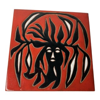 Mid-Century Jean Lurcat Red & Black Ceramic Art Tile For Sale